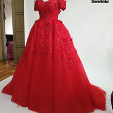 CloverBridal 3D lace appliques wedding dress with