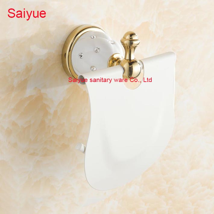 New Pure Luxury  White Painting Toilet Lavatory WC Paper Holder With diamond Roll Tissue  porte-papier Bathroom accessories use for oki image drum unit 3300 for okidata 43460201 43460202 03 04 drum unit refill drum unit for oki c3300 3400 printer laser