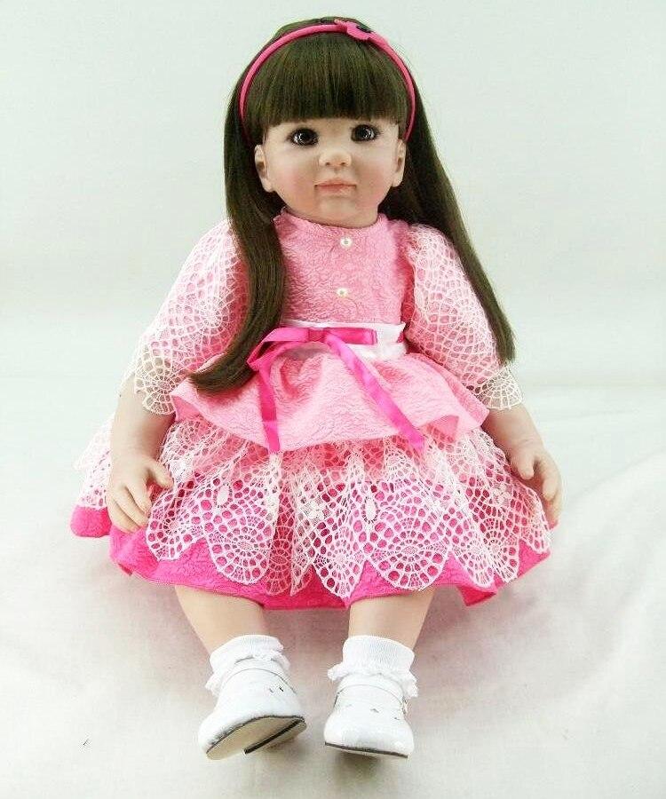 22 56 cm Reborn babys puppen infant prinzessin kleinkind rose rosa kleid spielzeug baby mädchen realistische brinquedos Spielzeug geschenke sammlung - 3