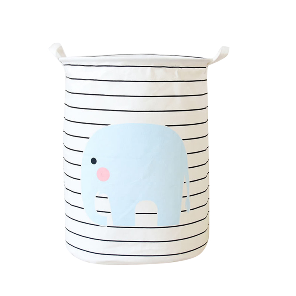 Laundry Basket Elephant Pattern Striped Laundry Hamper Storage Basket Home Decor  FPing