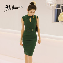 2018 Summer Solid Office Pencil Dress Women Sleeveless O-Neck Hollow Out Dress Casual Lady Dress Elegant Party Dresses Vestidos