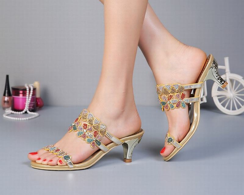 Mujeres Gold Colorido Verano Med De Talones Zapatos Del Sandalias 2018 Señoras Rhinestone Cómodo Flores Gladiador Cristal qxCwqZadF