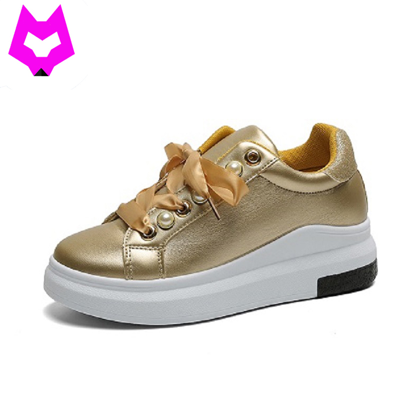 Flat Platform Shoes Women Bow Flat Shoes Woman Casual Loafers Creepers Tenis Feminino Hight Increased White Shoes Autumn phyanic 2017 gladiator sandals gold silver shoes woman summer platform wedges glitters creepers casual women shoes phy3323
