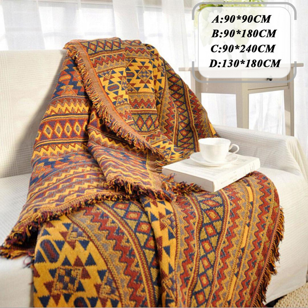 Bohemian chenille towel blanket for couch sofa decorative slipcover throws plaid rectangular - Decorative throws for furniture ...