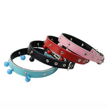 Soft Padded Leather Adjustable Cat Collars with Bells