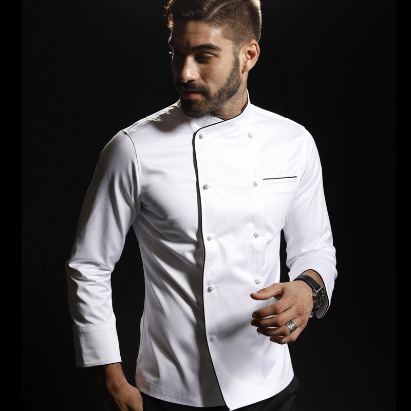 100% Cotton Chef Jacket White Washable Handmade Buckle High Quality Head Chef Jacket Custom Logo For Cook Competiton Uniform