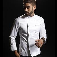 100% cotton chef jacket white washable handmade buckle high quality head chef jacket custom logo for cook competiton uniform