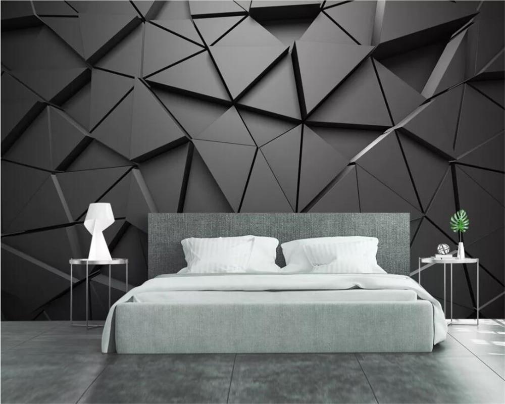 Parete Grigia Camera Da Letto us $8.85 41% di sconto|beibehang 3d geometrico astratto triangolo grigio  sfondo decorazione della parete di modo soggiorno camera da letto murale