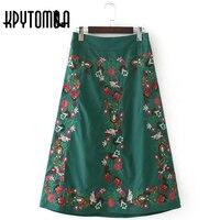 Винтаж Этническая Цветочные вышитые зеленые юбки миди Для женщин 2017, Новая мода Европы Стиль эластичный пояс с Повседневное Faldas Mujer