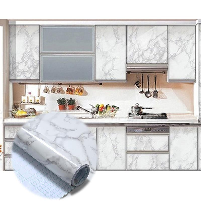 US $1.97 39% OFF|Self adhesive Marble Vinyl Wallpaper Roll Furniture  Decorative Film Waterproof Wall Stickers For Kitchen Backsplash Home  Decor-in ...