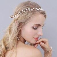 Bridal Head Headband Women Hair Accessories Lady Gold Pearl Crystal Hairbands Flower Wedding Dresses Accessory O0942