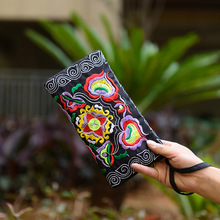 Hot Selling Women Vintage Ethnic Floral Embroidered Coin Clutch Long Wallet Coin Purse Card Holder Handbags -B5 vintage embroidery wallet new national ethnic embroidered long purse small clutch bag mobile phone coin bags