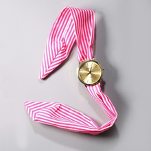 Дамы в Полоску Цветочный Ткань наручные часы женская мода платье смотреть ткань смотреть сладкие девочки смотреть relógio