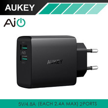 Aukey Travel Dual USB Fast Charger Adapter Wall Mobile Phone Smart AiPower Charger for iPhone Xiaomi Power Bank fast Charging(China)