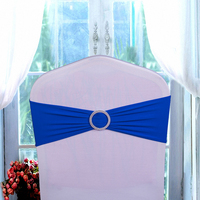 Hot!50pcs/lot Bow Chair Back Diamond Buckle Hotel Wedding Restaurant Solid Elastic Bandage Chair Cover Party Festival Decoration