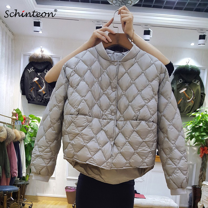 2019 New Baseball Down Jacket Women Short White Duck Down Outwear Loose Casual Coat Ultra Light