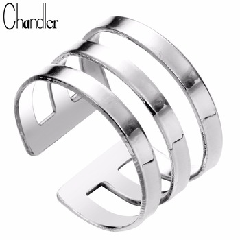 Brand 10pcs Silver Gold Three Lines Band Rings Open Wide Bague Geometrical Bib Jewelry Knuckle Finger Alloy Bijoux For Women