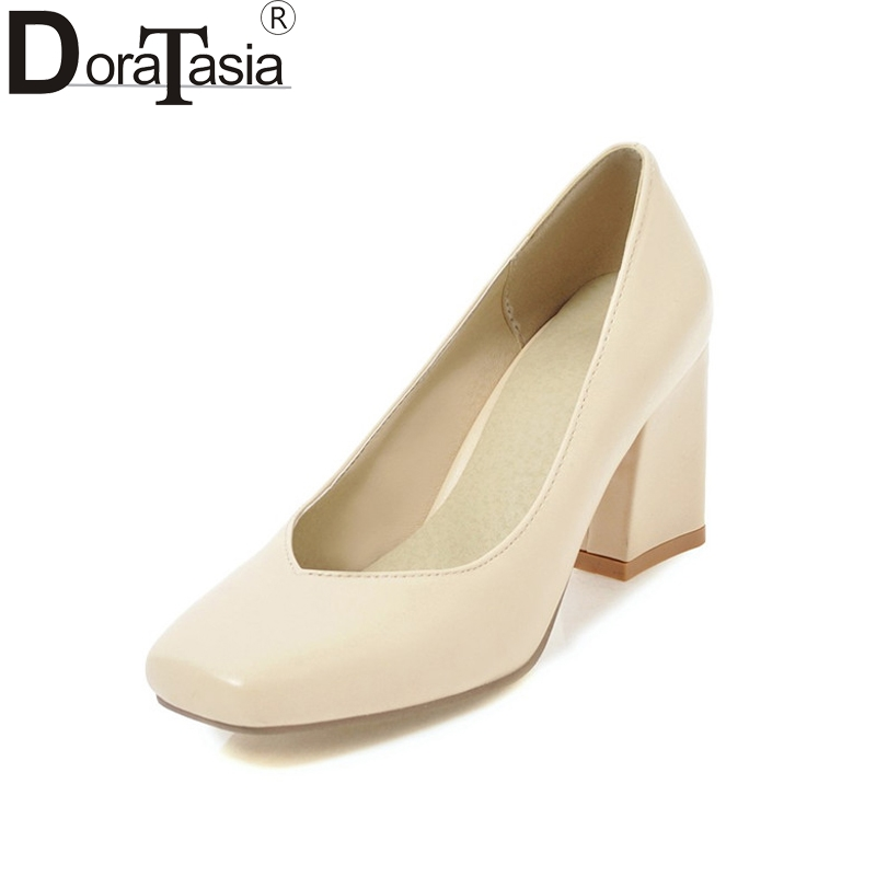 DoraTasia Women's Chunky High Heels Square Toe Less Platform Office Shoes Woman Party Wedding Pumps Big Size 32-43 baoyafang white red tassels women wedding shoes bride 12cm 14cm high heels platform shoes woman high pumps female shoes