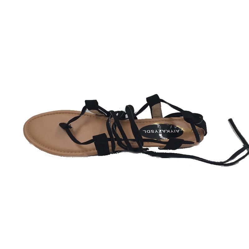 fdaa2f5b3 Aliexpress.com   Buy AIYKAZYSDL Women cross strap knee high summer roman  Gladiator sandals Strappy Clip Toe thong Flat Heel flip flops Flock Shoes  from ...