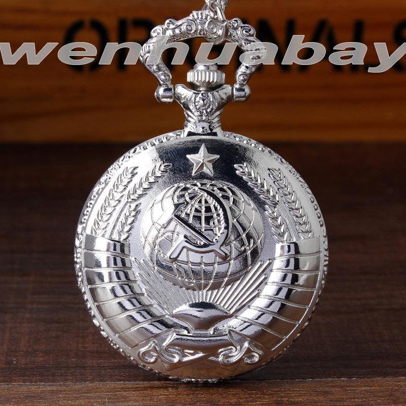 Antieke Sovjet-insignes USSR hamer en sikkel Quartz zakhorloge zwart zilver CCCP embleem ketting ketting communisme Vintage horloge
