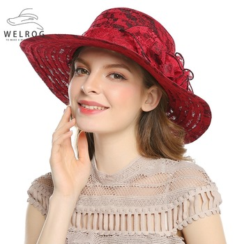 Gorra de Sol de verano de WELROG para mujeres al aire libre Casual sombrero  de playa de encaje flor sombreros de vacaciones señoras de ala ancha tapas  de ... e6c9407d580