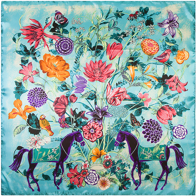 POBING New Luxury Brand 100%Twill Silk Woman Scarf Square Scarf Flower With Horse Print Silk Scarf&Wraps Hijab 90cm X 90cm