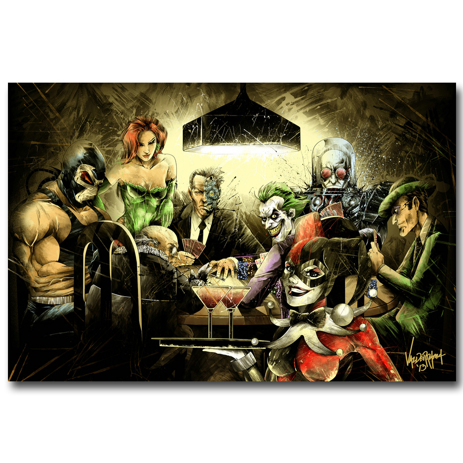 Joker Harley Quinn Playing Poker Art Silk Poster ან Canvas Poster 13x20 24x36inch Batman Arkham City თამაშის სურათები
