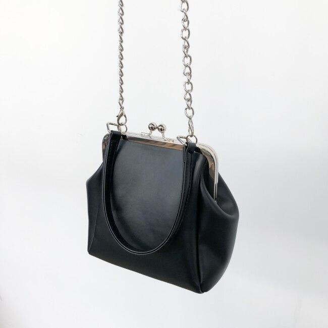 Feminino mini saco de estilo simples couro
