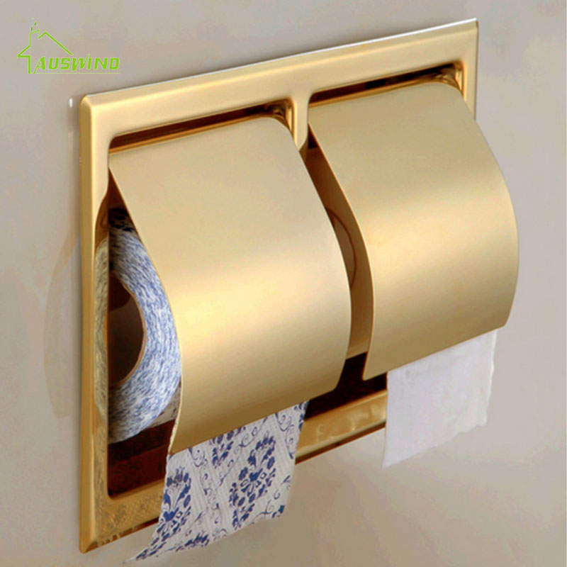 Modern Gold 304 Stainless Steel Toilet Paper Holder Rolling Box Embedded Double Roll Paper Towel Rack Bathroom Accessories GS 304 stainless steel tape paper carton waterproof paper towel box toilet roll holder hand hand carton carton
