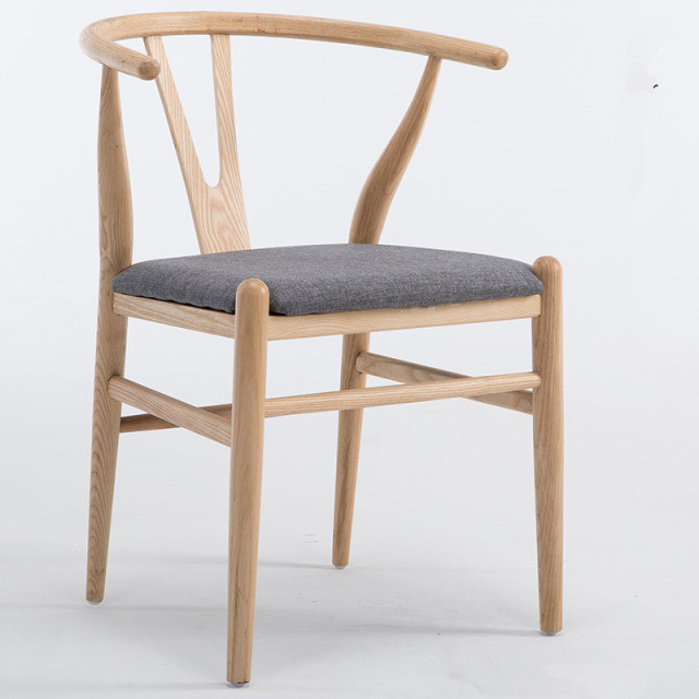 Modern Dining Chair With Fabric Cushion Hans Wegner Wishbone Solid Ash Wood Furniture