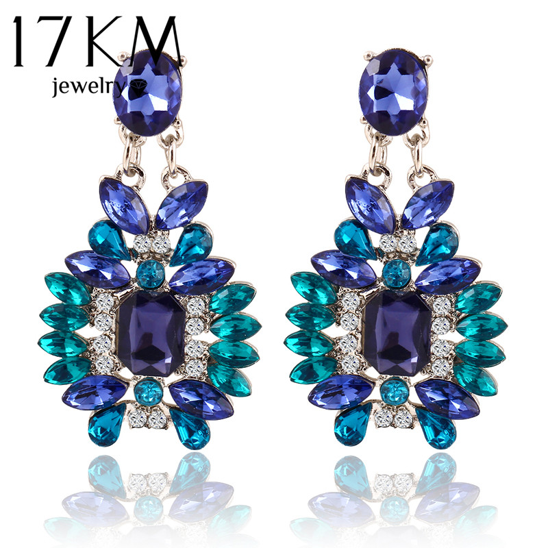 17KM New Summer Bohemian Colorful Big Drop Earrings Fashion Accessories Crystal Dangle Earrings Jewelry Women Gift