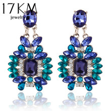17KM New Summer Bohemian Colorful Big Drop Earrings Fashion Accessories Crystal Dangle Earrings Jewelry Women Gift