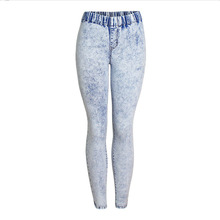 WQJGR 2019 News Snowflake jeans women Spring And Autumn Elastic Waist Plus Size Trousers Women