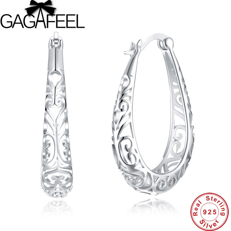 цена GAGAFEEL Hot Sale Hollow Big Hoop Earrings for Women Female Simple Design 925 Sterling Silver Brinco Jewelry