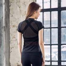 2017 Fitness Top Women Breathable Yoga Shirts Tops Lady Fitness Gym Mesh T-shirts Sports Clothing Running Tights Sexy Sportwear