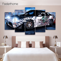 5 Piece Canvas Painting Graffiti Sports Car Nissan HD Posters And Prints Canvas Painting For Living