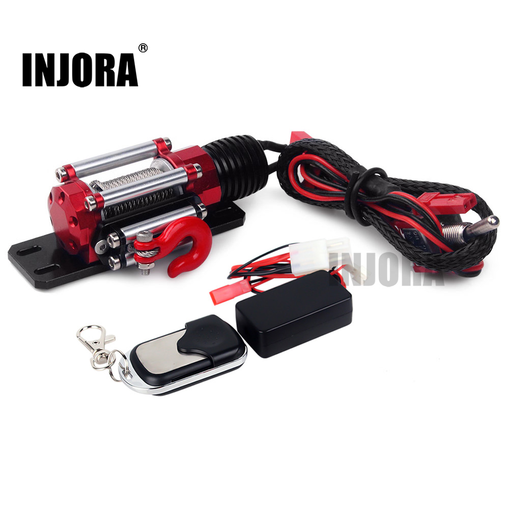 INJORA RC Car Metal Winch + Wireless Remote Controller  Receiver For 1:10 RC Crawler Truck Axial SCX10 90046 D90 Traxxas TRX4