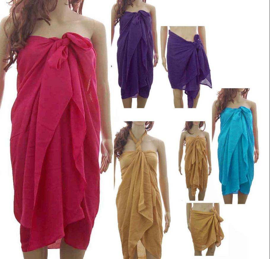 PLAIN LARGE SARONG BEACH POOL COVER UP SWIMWEAR WRAP PAREO FREE SIZE 180 X 100cm