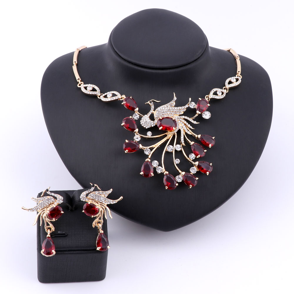 New Luxury Woman Necklace Cubic Zircon Glittering Phoenix Crystal Statement Pendant Necklaces Earring Wedding Party Jewelry Sets
