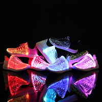 Size 26 46 Summer Led Fiber Optic Shoes for girls boys men women USB Recharge glowing Sneakers Man light up Parent child shoes