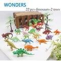 24 pcs Conjunto de Brinquedos de Plástico Dinossauro Jurassic Park Mundo Brinquedos do Jogo Modelo de dinossauro Ação & T-REX DINOSSAURO Figuras Melhor Presente para meninos