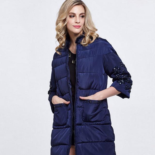 2016 casaco jaqueta de inverno mulheres casaco de manga longa PU patchwork Espessamento de algodão beading zipper 3/4 FS0321