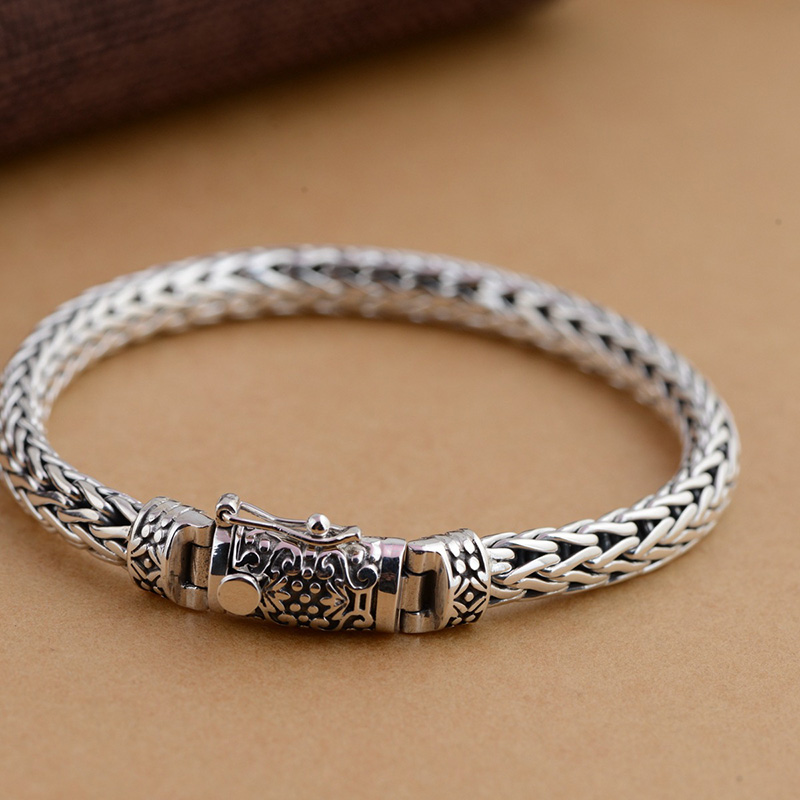GZ Pure Silver Bracelet Width mm cm cm Classic Reticular Chain S