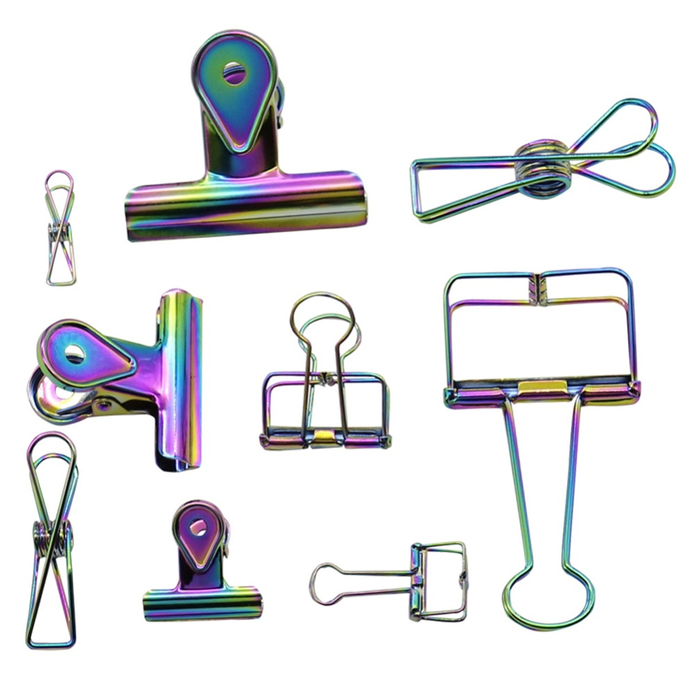 3 Pcs / Set Mixed Plating Metal Color Round Clip Hollow Clip Long Tail Ticket New Novelty Gifts Office Supplies