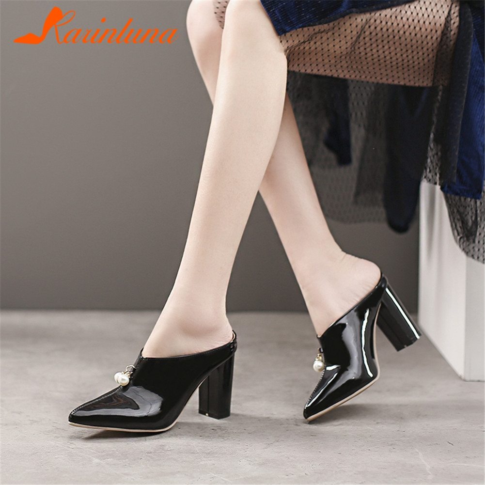 KARINLUNA Plus Size 30-48 New Mules Patent Pu Leather Pointed Toe Pearl Shoes Woman Casual Party Office Spring Summer Pumps