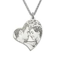 Groothandel Sterling Zilveren Gepersonaliseerde Foto Gegraveerd Ketting Hart Hanger Ketting Custom Picture Gift voor Haar