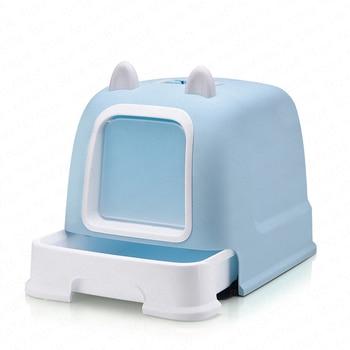урны для больших кошек | Полностью закрытый наполнитель для кошачьего туалета коробка дезодорант анти-всплеск большой с ящиком кошачьи уши стиль кошка поставки ...