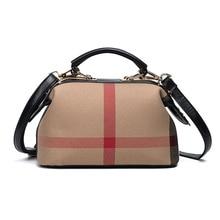 New Fashion Leather Boston Bags Women Plaid Handbags Ladies Shoulder Bags Crossbody Bags For Women sac