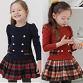 2016 in spring and Autumn New Korean girls Plaid Dress cute college wind tide double breasted dress