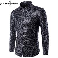 2017 herbst Tragen Männer Leopard Langarm-shirt camisa masculina Marke-Kleidung Herren Python Muster Hemd
